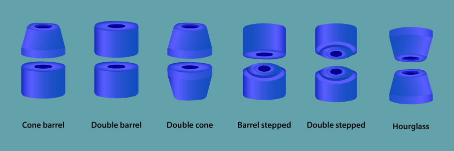 skateboard bushing shapes